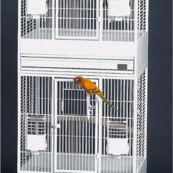 Avian Adventures - Multi Vista Bird Cages - 1705008204 - Shop for Bird Cages and Stands from Hayneedle.com! If you're looking for a versatile way to house multiple birds the Multi Vista Bird Cage is a great solution. With 1/2-inch bar spacing and 1/8-inch gauge wire this durable cage keeps your birds safe and secure.This unit comes complete with a wheeled base unit and two cages which when put together create a large vertical cage that measures 71 inches high. You can also purchase the expansion unit separately and put the cages side by side creating a horizontal configuration. Expand the size of the cages by taking out the removable panels in between. In addition to multiple options this cage also offers nest-box doors and front-mounted food doors for your convenience.The Multi Vista Bird Cage is the perfect way to create a customized home for your own precious pets. Available in several finishes.Recommended Birds for this Cage include: Finches and most Medium Sized Birds. This cage is not suitable for Macaws.About Mid-West Metal ProductsIn 1921 Mid-West Metal Products made only one item a Kruse Switch Box Support and over the years began manufacturing millions of wire and sheet metal component parts. By 1960 they were producing training crates for pets. Today Midwest Homes for Pets a division of Mid-West Metal Products produces and markets a variety of pet containment products. These products include dog crates training puppy crates dog kennels cat playpens bird cages vehicle barriers soft-sided carriers grooming tables and much more. They also manufacture a full line of pet accessories like beds and feeding dishes.