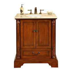 Silkroad Exclusive - 32 in. Single Sink Bathroom Vanity - Faucet, soap dispenser not included. Pre-drilled for 3-hole. 8 in. widespread faucet. Traditional style. Under mount white ceramic sink. Cream marfil marble stone top. One drawer and two door storage. Distressed cabinet design. Big cut-out back for plumbing installation. Antique brass finish hardware. Care: seal stone as needed, keep surface dry. Made from natural stone, solid wood and CARB Ph2 certified panels. No assembly required. 32 in. W x 22 in. D x 36 in. H (159 lbs.)This delightful module bathroom sink vanity will surely give any bathroom the attention and appeal that it deserves. The simple yet stylish design of this piece features raised panels, modest carvings throughout the cabinet.
