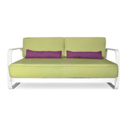 Urban Home Palazzo Patio Loveseat - Made of Durable Hand painted Chrome Finished in an Off White. Cushions feature dense foam covered with apple green fabric accented by violet purple pillows (sold separately).