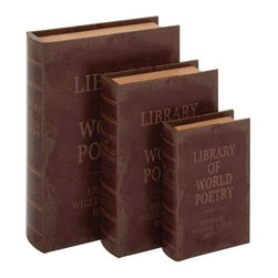 Benzara - Set of 3 Brown Leather Book Box - Set of 3 brown leather book box. This Set of 3 brown leather book sets is all set to take your abode to the next level of sophistication. Some assembly may be required.
