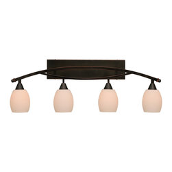 "Toltec - Toltec 174-BC-615 Bow 4-Light Bath Bar Shown in Black Copper Finish - Toltec 174-BC-615 Bow 4-Light Bath Bar Shown in Black Copper Finish with 5"" White Linen Glass Bulb On"