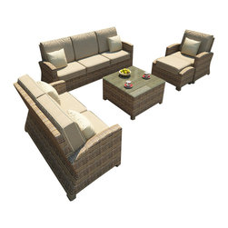 Forever Patio - Cypress 6 Piece Outdoor Wicker Sofa Set, Spectrum Mushroom Cushions - The Forever Patio Cypress 6 Piece Wicker Outdoor Sofa Set with Beige Sunbrella cushions (SKU FP-CYP-5SS-HR-SM) provides ample seating space coupled with a great blend of wicker. The set seats up to 6 adults comfortably, and features Heather resin wicker with a half round design for a complex and luxurious look. Each strand of this outdoor wicker is made from High-Density Polyethylene (HDPE) and is infused with its natural color and UV-inhibitors that prevent damage ordinarily caused by sunlight, surpassing the quality of natural rattan. The set is supported by thick-gauged, powder-coated aluminum frames that make it extremely durable. Also included are fade- and mildew-resistant Sunbrella cushions. With its comfort and quality, it is hard not to love this modern patio sofa set.