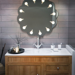 """Perito Moreno Vanity Flower - Contemporary / Modern Twelve Light Ambient Mirror - Perito Moreno Vanity Flower - Lighting by Iris Design Studio LtdThis amazing design of a vanity mirror with lights is great as a bathroom mirror and as a decorative lighten mirror. Inspiration:""""Inspired by the South American glacier of the same name, which is clearly reflected in the stunning Lago Argentino, Perito Moreno holds up a mirror to nature. Just as the glacier is constantly breaking down and being renewed, so Perito Moreno brings about eternal rejuvenation for those using it. Pyrex glass is shaped to resemble half of a normal light bulb, and is then attached to a mirror surface, reflecting itself to create an intriguing design, and a virtual 'whole'. Which part is real, and which part is reflected? Is anything what it seems to be? As a light source exists within a light source, these very questions are raised through an elegant and original design that generates a powerful symbol of industrialisation. """""""