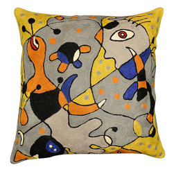 """Modern Wool - Miro Carnival Decorative Pillow Cover Hand Embroidered 18"""" x 18"""" - Miro Carnival Decorative Pillow Cover - With striking elements of Joan Miro's 'Harlequins Carnival,' this exquisite modern cushion cover will delight your senses. Expertly handcrafted by Kashmiri artisans, this Kashmir wool chain stitch embroidered abstract pillow cover satisfies the most effete collector of modern abstract art. Soft swirls of dazzling color create a piece that will draw the eye of every passerby. Beautiful but functional and durable, this easy-care item is perfect for any room, patio, or cabin."""