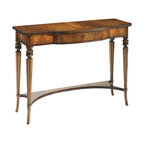 """Inviting Home - English Console Table - English style console table in antiqued walnut finish 44""""W x 17-1/2""""D x 31-1/2""""H hand-made in Italy 19th-century English style console table with walnut veneer in antiqued walnut finish. English console table has one drawer and antiqued brass lock and key. This console table is hand made in Italy."""