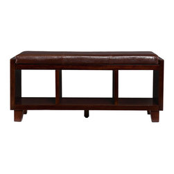 SEI - Capistrano Bench - Make a stylish statement in your entryway. This beautiful espresso bench offers a cozy seat and extra storage to help unclutter your home. This bench features a warm espresso finish with a lovely chocolate seat cushion. Beneath the seat of the bench are three open shelf compartments perfect for everyday storage or decorative display. This convenient storage works great for stowing away shoes, blankets, or anything that needs to be tucked away. The simple styling and contemporary finish make this bench a lovely addition for any home. Add one to your entryway for the perfect spot to drop everything while you kick off those shoes. This bench also looks great at the foot of the bed.
