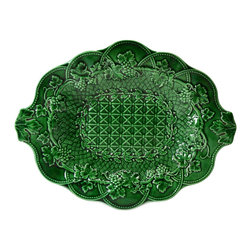 Lavish Shoestring - Consigned Green Majolica Fruit Platter by Wedgwood, Antique English, 19th Centur - This is a vintage one-of-a-kind item.