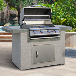 Cal Flame - Cal Flame 6 ft. Stucco BBQ Island with Gas Grill - White Ash Stucco - LBK-601-O - Shop for Grills from Hayneedle.com! Take your outdoor cooking skills to new heights with the beautiful design of the Cal Flame 6 ft. BBQ Island with Gas Grill White Ash Stucco. Made to offer style and functionality this combination unit combines a grill with a handy counter/kitchen island. It features a white Ash stucco base with a slate porcelain tile countertop for a look that complements your outdoor setting. The stainless steel finish on the grill adds weather protection and style for any decor. This grill also features an 800 square inch cooking surface heavy duty stainless steel wire grate Piezo ignition and 4 burners that produce up to 60 000 BTUs of grilling power. Each knob also can also independently control the ignition for easy handling no matter what burner you need. Other features include a full length drip tray burner lip guards optional rotisserie and interior storage for cooking utensils and other items.About Cal FlameCal Flame was founded in 2000 and has been building award-winning customized grill solutions ever since. This complete line of 304 stainless steel grills accessories fire pits and more works seamlessly together to provide a chef-level experience in your backyard. They're designed with experience and built for reliability and can be built into a custom island or dropped into a movable grill cart. Your configuration is entirely up to you go ahead design the outdoor kitchen of your dreams!