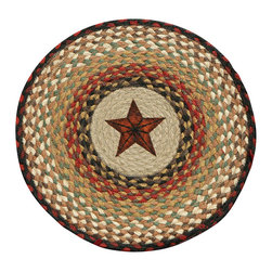 Earth Rugs - CH-19 Barn Star Round Chair Pad 15.5in. - Barn Star Round Chair Pad 15.5 in.