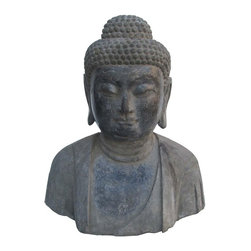 Golden Lotus - Chinese Hand Carved Sakyamuni Stone Buddha Head Statue - This huge sakyamuni Buddha head statue is made of solid stone and hand carved in a round. The carving is very detailed and precise.