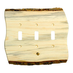 Big Sky Hardware - Rustic - 3 Toggle Finished - Blued Pine Switchplate (BSH-682780) - Rustic - 3 Toggle Finished - Blued Pine Switchplate