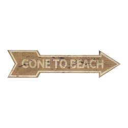 """IMAX CORPORATION - Beach Break Wall Decor Sign - Take a break from traditional wall decor with this """"Gone to Beach"""" wood signage. A wonderful addition to any coastal interior. Find home furnishings, decor, and accessories from Posh Urban Furnishings. Beautiful, stylish furniture and decor that will brighten your home instantly. Shop modern, traditional, vintage, and world designs."""