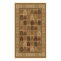 Rug - ~5 ft. x 8 ft. Authentic Persian Ivory Modern Living Room Area Rug - (Machine Made) MONA LISA COLLECTION:
