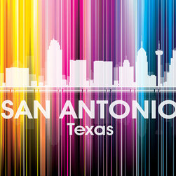 San Antonio Vertical Lined Rainbow Print - Known for the Alamo, River Walk and trail of Spanish missions, the city of San Antonio shines bright in a rainbow of color. Show off a little city pride with the digital and photographic layers on this mixed-media art that captures all of its vibrancy.