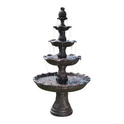 "Sunnydaze Decor - Grand Courtyard 4-Tier Fountain, Dark Chesnut - 43.5""Dx80""H Weight: 125 lbs. Lower basin bottom is 17.5"" in diameter and 20"" tall. Lower tier is 43.5"" diameter, next tier is 27.5"", next is 20"" and top tier 14"" diameter. Lower basin water depth is about 6"" deep, each higher tier is about 1"" less deep of water then the prior one."