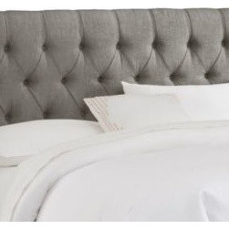 Skyline Furniture - Skyline Furniture Tufted Headboard in Linen Grey - Luxurious, comfortable, and fashionable describe this diamond tufted headboard. It boasts handcrafted diamond tufts upholstered in soft linen. It's constructed with plush foam padding to give you the comfort you are looking for.