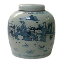 Golden Lotus - Vintage Chinese Blue White Porcelain Large Ginger Jar Hcs601-3 - This is a decorative piece and collected from different places, the color and details varies from one to one. The bottom mark is different. But overall the design is almost the same.