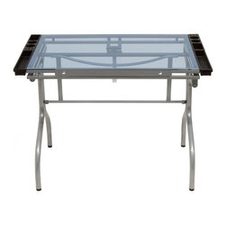 Studio Designs - Folding Craft Station - Silver and Blue Glass - Tempered Blue Safety Glass Top can be used as a Light Table. 6 Angle Adjustment from Flat Up to 35 Degrees. Four Removable Side Trays for Supplies. Heavy Gage Steel Construction for Durability. (4) Floor Levelers for Stability. 24 in. Slide Up Pencil Ledge. No Tools Required for Assembly. Assembles in 5 Minutes or Less. Table Overall Dimensions: 40.75 in. W x 23.75 in. D x 30.75 in. - 44.25 in. H. Main Work Surface: 35.25 in. W x 23.75 in. D