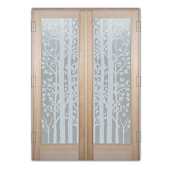 "Sans Soucie Art Glass (door frame material T.M. Cobb) - Interior Glass Doors Sans Soucie Art Glass Forest Trees Private Pair - Sans Soucie Art Glass Interior Door with Sandblast Etched Glass Design. GET THE PRIVACY YOU NEED WITHOUT BLOCKING LIGHT, thru beautiful works of etched glass art by Sans Soucie!  THIS GLASS PROVIDES 100% OBSCURITY.  (Photo is View from OUTside the room.)  Door material will be unfinished, ready for paint or stain.  Satin Nickel Hinges. Available in other wood species, hinge finishes and sizes!  As book door or prehung, or even glass only!  1/8"" thick Tempered Safety Glass.  Cleaning is the same as regular clear glass. Use glass cleaner and a soft cloth."