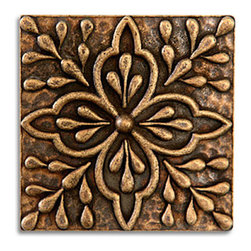 "Compliments Accessories - Donatella Tile - Old world Mediterranean floral design 2x2"" tile in an Aged Brass finish"