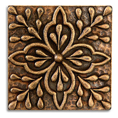 """Compliments Accessories - Donatella Tile - Old world Mediterranean floral design 2x2"""" tile in an Aged Brass finish"""