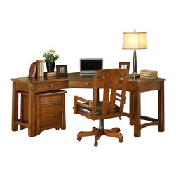 Riverside Furniture - Riverside Furniture Craftsman Home Corner Workstation in Oak - Riverside Furniture - Home Office Desks - 29302935KIT - Riverside's products are designed and constructed for use in the home and are generally not intended for rental commercial institutional or other applications not considered to be household usage. Riverside uses furniture construction techniques and select materials to provide quality durability and value in our products and allows us to meet the wide range of design and budget requirements of our customers. The construction of our core product line consists of a combination of cabinetmaker hardwood solids and hand-selected veneers applied over medium density fiberboard (MDF) and particle board. MDF and particle board are used in quality furniture for surfaces that require stability against the varying environmental conditions in modern homes. The use of these materials allows Riverside to design heirloom quality furnishings that are not only beautiful but will increase in value through the years.