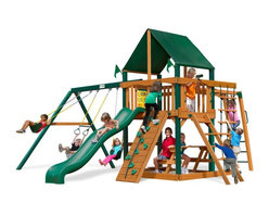 Gorilla Playsets - Gorilla Playsets Navigator Supreme Wood Swing Set with Canvas Green Canopy - 01- - Shop for Swings Slides and Gyms from Hayneedle.com! Ahoy! Hoist anchor and set sail aboard the Gorilla Playsets Navigator Supreme Wood Swing Set with Canvas Green Canopy! The imagination of a child is a miraculous thing. With it a mounted steering wheel turns a simple rail into the helm of a ship and a toy telescope transforms a five-foot platform into a crow's nest thirty-five feet above the sea. This creatively designed play set is a perfect canvass on which your little adventurers can paint their dreams. The ability to explore and plan fantastical adventures bolsters a bold confidence in your children helping them learn what it means to be a leader. The encouragement to actively play outdoors also helps kids develop gross motor skills as well as a natural affinity for fresh air and exercise that will pave the way for a happy and healthy life. The swings monkey bars and climbing structures all inspire this kind of kinetic play. As kids climb up down and all around this set parents will feel better knowing the children are safe with the securely anchored easy-grip handles and stable square footing. The canopy and the built-in picnic table allow kids to stay outside and play almost all day without you having to worry about them getting too much sun because the canopy is made from all-weather Sunbrella fabric that protects them both from harsh UV rays and even light rain.Additional FeaturesTotal dimensions: 19W x 18D x 11H feetPlatform dimensions: 6W x 4L x 5H feetIncludes tic-tac-toe panel steering wheel telescopeAlso includes flag kit safety handles hardware4 x 4 solid wood framing4 x 6 swing beamsNaturally resistant to rot decay and insect damageAbout Gorilla Playsets Since 1992 Gorilla Playsets has been designing and selling ready-to-assemble playsets. With a reputation for providing excellent customer service Gorilla Playsets conveniently provides customers with
