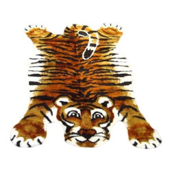 """Walk on Me - Tiger Playmat Rug (28""""x45"""") - Sweet scruffy tiger - can be sleek or ruffled just like a real kitty - light enough to tote, rugged enough for foot traffic - brilliant bright and gently downy fibers - orangey-gold, soft natural white, and jet black - machine washable, hypoallergenic, non-slip"""