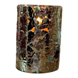 """Butterfly Hurricane Vase With Glass Insert - Stamped butterflies """"flutter"""" on this unique hurricane with glass insert. Made of stainless steel, the vase will resist turning, tarnishing, oxidizing, and scratching so you or your favorite hostess can enjoy it for many years to come."""