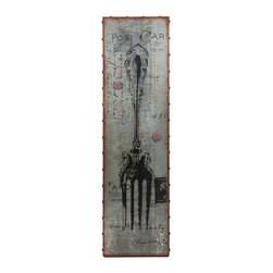 Galvanized Metal Magnetic Fork Wall Decor - *With a classic French post card design, and traditional silver fork graphic, the galvanized metal wall art makes a great magnetic board for messages and favorite snapshots.