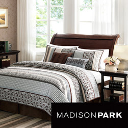 Madison Park - Madison Park Harvard 5-piece Coverlet Set - To add a touch of richness to current decor, the Harvard Coverlet Set can update the room in seconds. The coverlet and shams share leaf, striping and medallion motifs that are accentuated by channel stitching on a chocolate brown base.