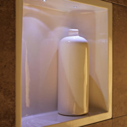 Modern shower shelves with clean lines - Modern clean lines shower niche. Low voltage lights and transformer $95.
