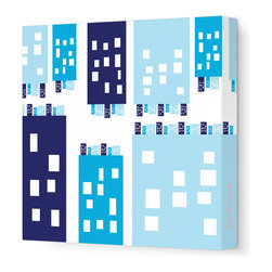 "Avalisa - Imagination - City Stretched Wall Art, 18"" x 18"", Blue - Stretched, unframed art makes a sleek and modern design statement on your wall. And doesn't this piece put a unique, humorous spin on metropolitan life?"