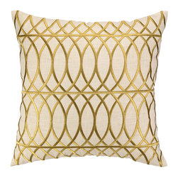 """DL Rhein - DL Rhein Loop de Loop Citron Embroidered Pillow - Known for unexpected combinations, DL Rhein effortlessly weaves sophistication, worldly influence and fresh color into its contemporary home decor collection. Elegant and abstract, the Loop de Loop pillow accents a sofa or couch with an eye-catching design. Beautiful overlapping citron yellow curved lines form a striking embroidered pattern across the accessory's beige background for visual allure. Made from 100% ramie. Dry clean only. Feather down fill insert included. 20""""W X 20""""H."""