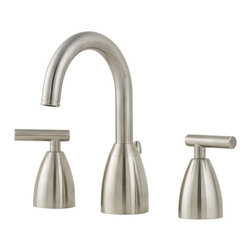 "Pfister - Pfister F-049-NK00 Brushed Nickel Contempra Contempra Widespread - Contempra Widespread Bathroom Sink Faucet Low LeadPfisterÂ's sleek and sophisticated Contempra collection offers a contemporary-themed solution for todayÂ's modern kitchens and bathrooms. Smooth curves, high-arc styling, and clean and contemporary lines help define this family. Rejuvenate any bathroom with a single or double handle lavatory faucet and complementary Roman tub filler or tub and shower fixture featuring a Rain Shower showerhead. And in the kitchen, the single handle faucet proudly displays its modern presence. Choose from a version with or without a pullout spray feature.All brass faucet body construction - Weight: 5 LBSWidespread mounting for 8"" - 15"" centers, 3 hole installations2 metal lever handles includedADA compliantIndustry leading, lifetime ceramic disc valvePop up drain and assembly includedOverall height: 8.1875"" (measured from counter top to highest point of faucet)Spout height: 5.0625"" (measured from counter top to spout outlet)Spout reach: 5.0625"" (measured from center of faucet base to center of spout outlet)WaterSense certified - 2.2 gallon-per-minute flow rateInstalls onto decks (counter tops) up to 1.5"" thickLow lead compliant - complies with CA and VT low-lead requirements for plumbing productsDesigned for use with standard US plumbing connectionsAll necessary mounting hardware includedFully covered under Pfister s Pforever Lifetime WarrantyAbout PfisterFounded in 1910, Pfister (previously known as Price Pfister) is one of AmericaÂ's oldest and most experienced plumbing companies. As the first faucet manufacturer in the world to offer a lifetime warranty on their products, quality has always been the cornerstone of Pfister faucets. Brass bodies, ceramic disc valves, and lifetime PVD finishes name a few of the features youÂ'll find in their product lin"