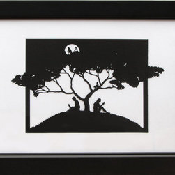 """Connected"" (Original) By Melanie Kehoss - The Black Silhouettes And Natural Setting Recall 18Th Century Pastoral Paper-Cut Scenes, Yet A Closer Inspection Reveals A Contemporary Theme.  Entertainment And Distraction Take The Place Of Contemplation And Conversation, While Transmission And Reception Fill The Tree-Fed Air.   Frame Included."