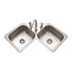 Houzer - Legend Corner Double Bowl Sink - Maximizes useable countertop space in smaller kitchens.