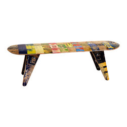 "Deckstool - Recycled Skateboard Furniture - Deckbench - Recycled Skateboard Bench, 60"" Deckbench - Three Seater - Deckbench - Recycled Skateboard Bench - 60"" Three Seater"