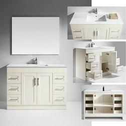 Artifical Stone Top Single Sink Bathroom Vanity with Mirror -