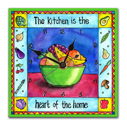 "Kitchen Wall Clock - Our Kitchen clock, painted in bright, warm colors will fit with any decor. The message reads ""The Kitchen is the Heart of the Home."" Made in our studio, a print of an original watercolor is dry mounted onto black foam board and heat-sealed with a protective laminate. The clock is feather light, has a hanger on the back and comes in a gift box. The quartz movement runs on a single AA battery. Made in the USA."