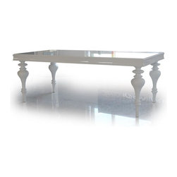 "VIG Furniture - Bella 79"" White Lacquer Victorian Style Dining Table - The Bella dining table will add a Victorian era style with a modern appeal that works for any decor. This dining table is crafted from solid wood products making it a very durable table. The table comes with a standard size of 79"" perfect for larger gatherings. The table comes in a high gloss white finish with uniquely designed legs that add to the overall look. The price shown includes the table only."