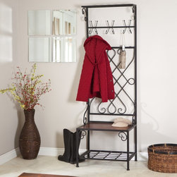 Finley Home - Loring Entryway Storage Rack Hall Tree Multicolor - JF101871 - Shop for Caddies and Stands from Hayneedle.com! An easy way to clean up any entry way the Loring Entryway Storage Rack Hall Tree has got storage and style you'll be happy to have around. Constructed with an intricate weaving pattern that almost wraps around the metal frame like a vine this storage rack is durable and can withstand the daily wear-and-tear of people plunking down to remove their boots. Raised bottom storage keeps floors tidy by allowing space for shoes and boots while the tough wooden bench is spacious enough to sit in comfortably. Three four-prong hooks are perfect for hanging coats scarves or hats. The top shelf is ideal for less frequently used items such as umbrellas and the low bottom shelf serves as a convenient place to plop your shoes after a long day. Keep everything you need to leave the house conveniently by the door. Additional Information Raised bottom shelf: 22.5W x 17.25D inches; 85-pound capacity Seat/shelf: 24W x 18D inches; 250-pound capacity Top shelf: 24.02W x 7.8D inches; 22-pound capacity Overall height: 72.5 inches About Finley HomeFinley Home was created to ensure that your needs wants and desires regarding home furnishings and decor are met with ease. Offering a well-appointed mix of both current and classic designs all with functional style at exceptionally affordable prices Finley Home's unique pieces and collections are ideal for keeping pace with today's ever-evolving lifestyles. Simple silhouettes understated elegance and versatility define the Finley Home brand and make it one you'll return to for years to come.