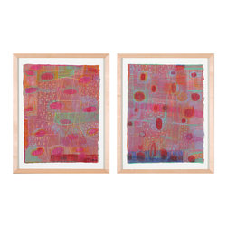 Silk Road I and II - Framed Original Mixed Media Artwork - The color in this original artwork literally sparkles. The pieces are woodcut and hand drawn on Okawara Japanese paper. They are both one-of-a-kind pieces and come framed and ready to hang.
