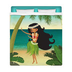 "Surfer Bedding - ""Hula Girl On The Beach"" Queen Size Sheet Set - Our ""Hula Girl on the Beach "" Queen Size Beach Sheet Set is made of a lightweight microfiber for the ultimate experience in softness~ extremely breathable!"