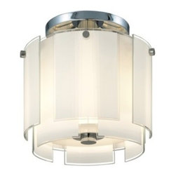 "Sonneman - Sonneman Velo 12"" Semi Flush Ceiling Light - The Velo 12 Semi Flush Ceiling Light by Sonneman has been designed by Robert Sonneman. The Velo 12 Semi Flush Ceiling Light is a layered veil of luminous glass that radiates Hollywood glamour. Each of its white enameled glass panels is defined by crystal clear edges that add just a touch of sparkle and definition. Featured in polished chrome and a shade of white glass with clear edges.  Product description:   The Velo 12 Semi Flush Ceiling Light by Sonneman has been designed by Robert Sonneman. The Velo 12 Semi Flush Ceiling Light is a layered veil of luminous glass that radiates Hollywood glamour. Each of its white enameled glass panels is defined by crystal clear edges that add just a touch of sparkle and definition. Featured in polished chrome and a shade of white glass with clear edges.  Details:      Manufacturer:     Sonneman      Designer:    Robert Sonneman        Made in:    USA        Dimensions:     Shade:Height:10"" (25.4 cm) X Diameter:12"" (30.48 cm) X    Canopy Diameter:7"" (17.78 cm) Overall:Height:12"" (30.48 cm) X Diameter:13"" (33.02 cm)      Light bulb:     2 X E12Candelabra Max 60W Incandescent (not included)        Material:     Glass"