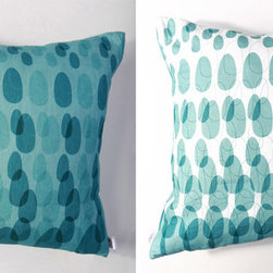 Kaypee Soh - ModPod Pillow - Aqua - Colorful droplets shower this pillow creating a retro take on today's ombre style. 100% LinenHidden red zipper closureFeather/down hypoallergenic insertHandmade in USA