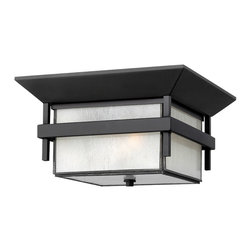 Hinkley Lighting - Harbor Flush Outdoor - Harbor has an updated nautical feel, with a style inspired by the clean, strong lines of a welcoming lighthouse. The cast aluminum and brass construction is accented by bold stripes against the seedy glass.