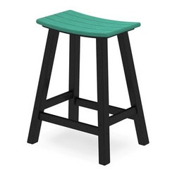 POLYWOOD® - POLYWOOD® Contempo Saddle Bar Stool - Enhance your outdoor entertaining area with this popular seating choice. Your guests will love the style and comfort of a bar stool and you'll appreciate the size color choices and space savings. Our collection of bar stools is available in several style and color options. Choose the dual-colored stools for a modern look or a single color if your décor is more traditional.Since 1990 POLYWOOD® has been combining the look of painted natural wood with the durability of synthetic materials. From their start location in northern Indiana POLYWOOD® recycles consumer waste such as milk jugs into high quality patio furniture. With a process that beautifully mimics the natural grain of natural wood POLYWOOD® furniture comes in a variety of styles. From sleek modern looks to the familiar comfort of traditional Adirondack chairs; POLYWOOD® has style and durability. Choosing POLYWOOD®'s made in the USA recycled furniture is a decision you can be confident in.
