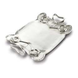Vagabond House - Pewter Shoe & Bit Serving Tray - A snaffle bit, horse shoes and buckled cinches have been translated into pewter embellishing a pure pewter tray. The tray is generously sized for proving a truly royal spread to celebrate the sport of kings.