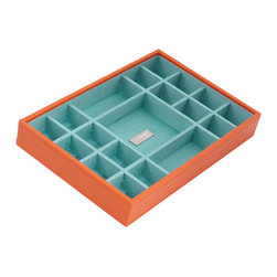 WOLF - Stackables Medium Standard Tray, Orange - A vibrant, colorful combination of jewelry and accessory storage trays. Available in purple, aqua, yellow, and orange with contrasting fabric lined interiors they're perfect for organizing all of your jewelry and accessories! Each piece is sold separately and is designed to be mixed, matched and stacked to meet your individual storage needs.